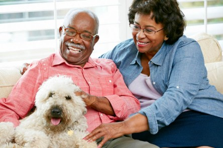 senior couple enjoying their pet friendly environment