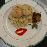 Seared scallops over a mushroom risotto