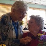 Soon-to-be centenarian, Mary Ida Hunt visits with Willie during lunch.