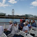 Seated residents on deck as we pass Navy Pier in Chicago.