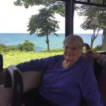 Another resident loving the ride along the Lake Michigan coast in the bus.