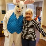 Gardens resident enjoying a visit from the Easter Bunny
